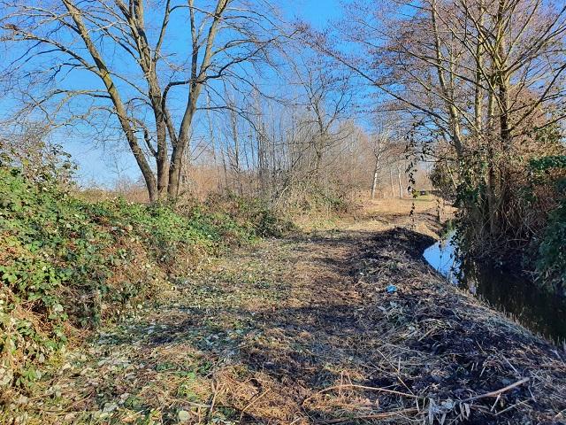 Naturbelassenes, großes Erholungsgrundstück mit eigener Uferfront am Kanal, ggü. von Wohnbebauung und nb. einer Gartenanlage